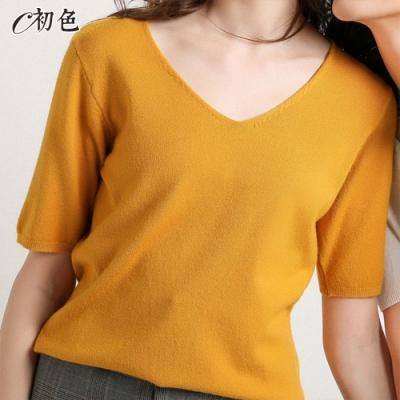初色  V領薄款針織衫-薑黃色-(M-2XL可選)