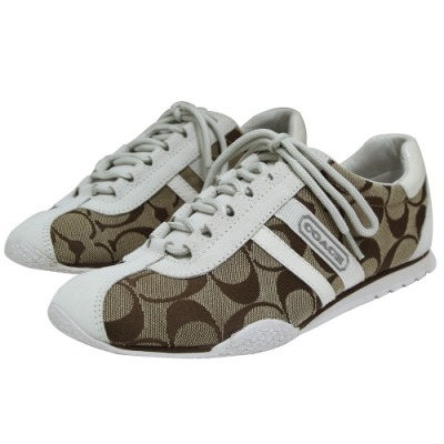 COACH 經典C LOGO 飾麂皮平底休閒鞋-白/咖啡色(6M)