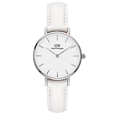 DW手錶 官方旗艦店 28mm銀框 Classic Petite 純真白真皮皮革手錶 @ Y!購物