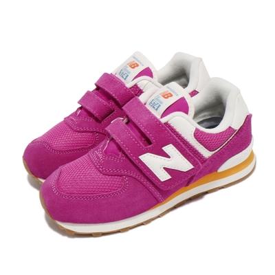 New Balance 休閒鞋 574 W Wide 寬楦 童鞋 紐巴倫 N字鞋 魔鬼氈 穿搭 中童 粉 白 PV574HP2W