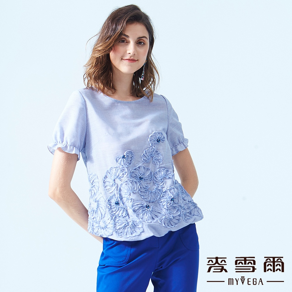【麥雪爾】純棉立體花紋細條紋澎袖上衣