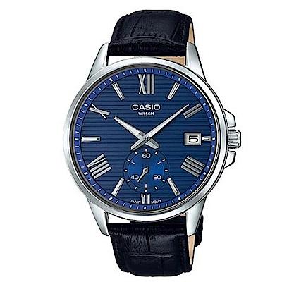 CASIO簡約橫條紋時尚羅馬風格皮帶腕錶(MTP-EX100L-2)藍面/43.8