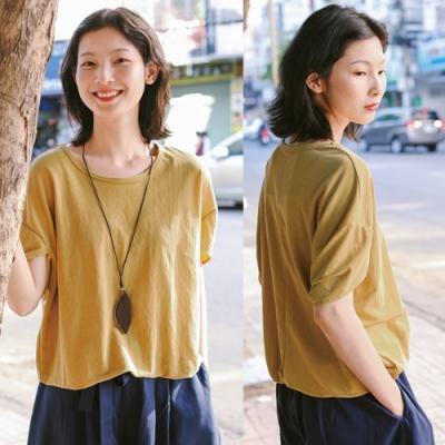 T恤-墜感棉質袖口解構剪裁寬鬆文藝上衣-設計所在