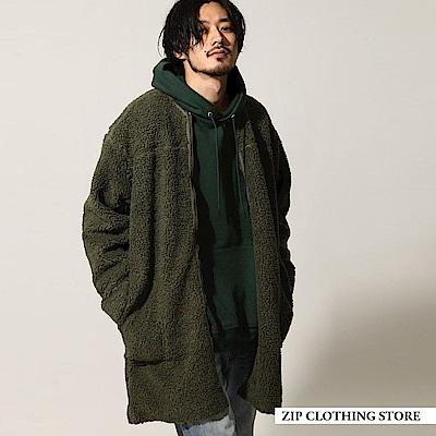 仿羊絨長版大衣外套(6色) ZIP日本男裝