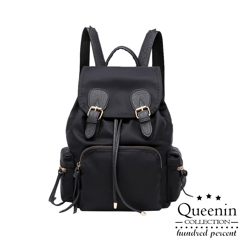 DF Queenin日韓 - 夢想女孩簡約百搭牛津雙扣後背包二件組