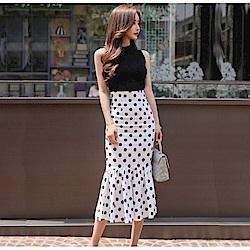 IMStyle  針織背心+波點魚尾裙 套裝