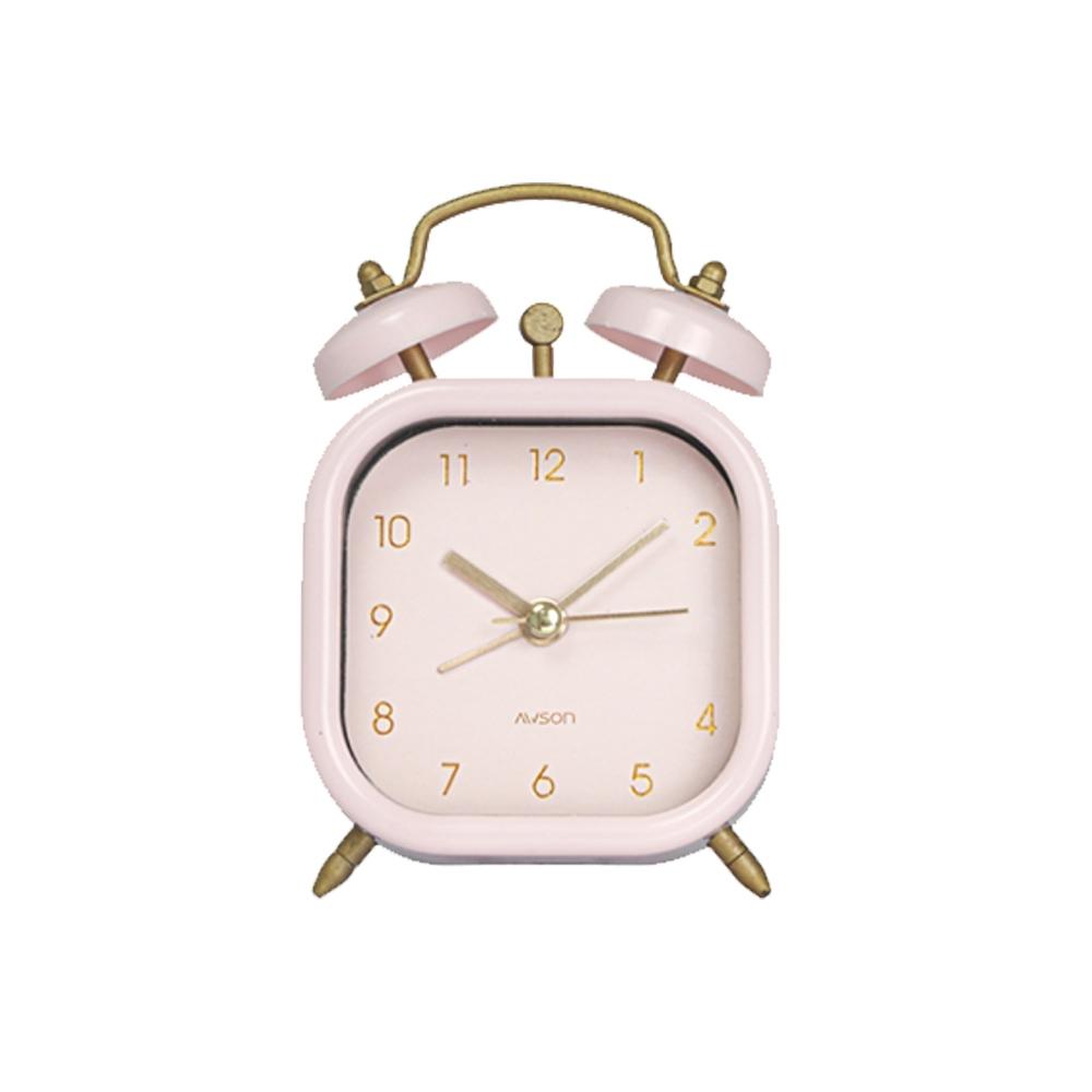 日本AWSON歐森 復古靜音小鬧鐘/時鐘(AWK-6007)Pink粉