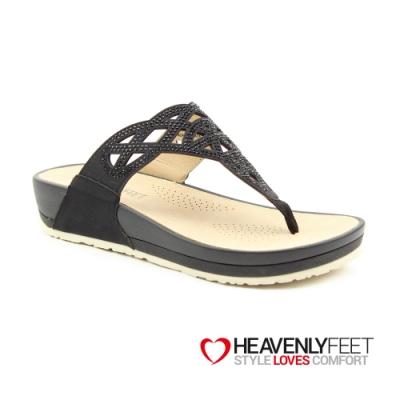 【HEAVENLY FEET】英國舒適品牌縷空水鑽造型夾腳休閒拖鞋-ACACIA