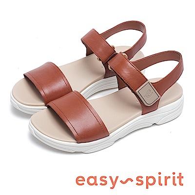 Easy Spirit OLYMPIA 沁涼寬版厚底增高涼鞋-棕色