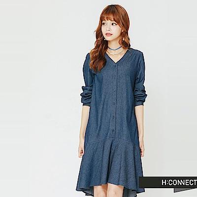 H:CONNECT 韓國品牌 女裝-微V領排扣魚尾洋裝-藍