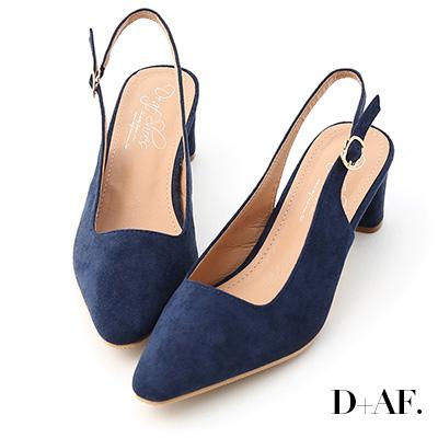 D+AF 自信主張.微尖頭絨料後空中跟鞋*深藍