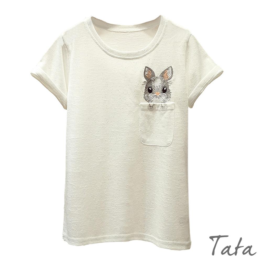 圓領兔子刺繡上衣 共二色 TATA