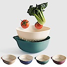 Homely Zakka 麥趣食光健康環保小麥2件式可分離盛物過濾籃/瀝水籃-葉綠