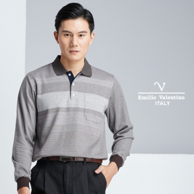 Emilio Valentino質感紳士風範棉衫_咖啡(91-8V1652)