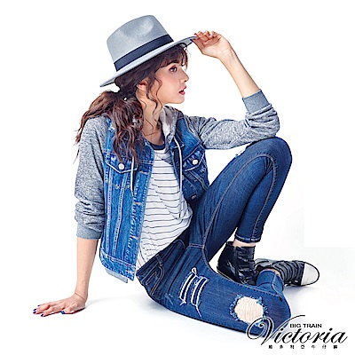 Victoria 低腰個性補釘割破九分褲-女-深藍