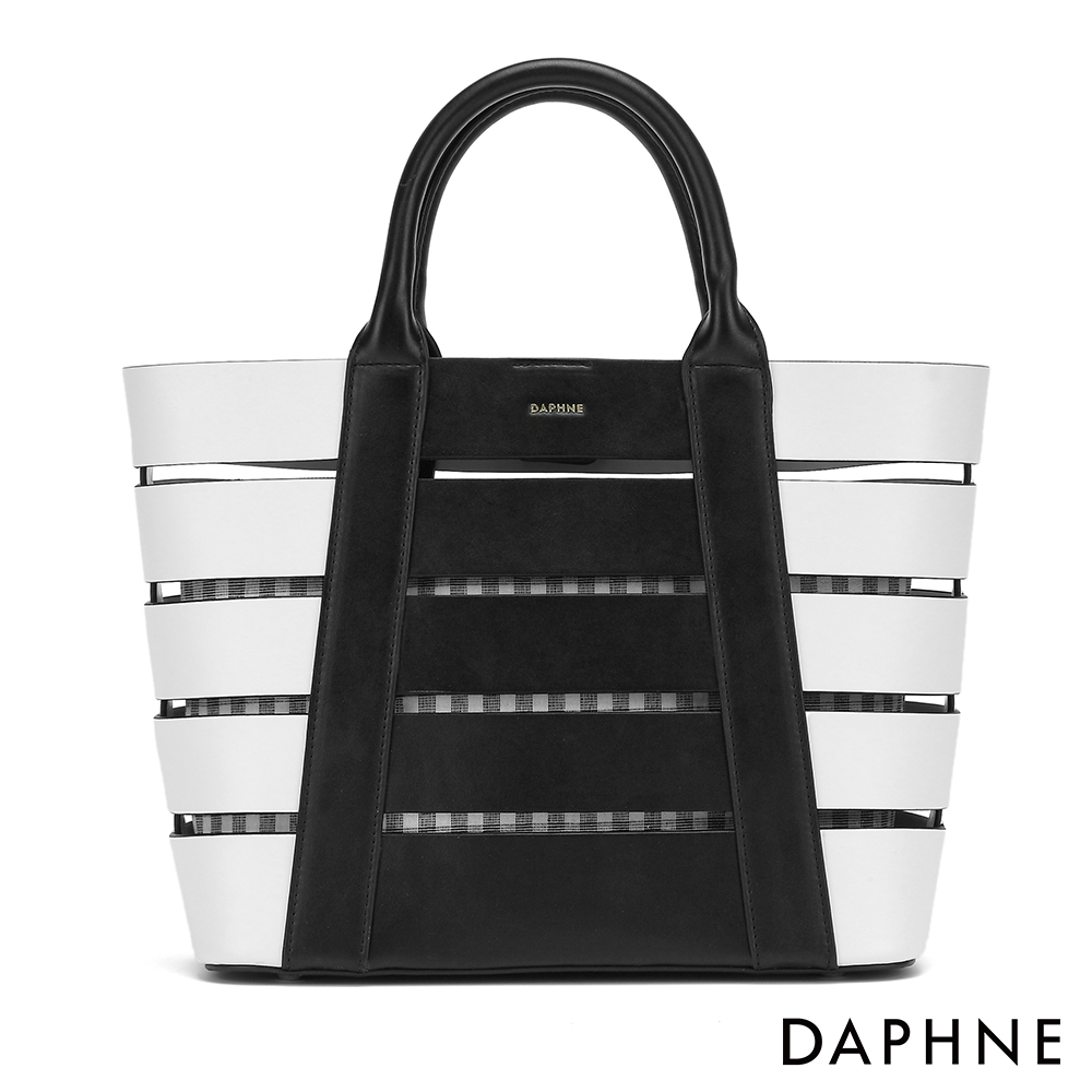 達芙妮DAPHNE-立體條紋撞色縷空子母托特包-黑色