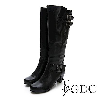 GDC-真皮扣環長腿辣妹性感中跟長靴-黑色