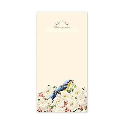 ByNACOO 復古便條紙-04鳥與花-空白