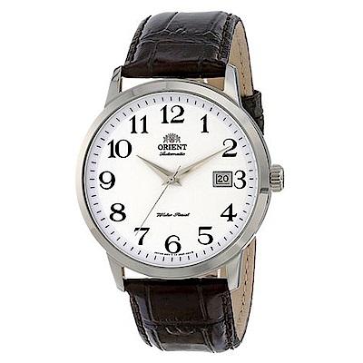 ORIENT東方錶 DATE數字時標自動機械腕錶(FER27008W0)-白x41mm