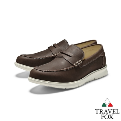 TRAVEL FOX(男) 靚型式全牛皮直套彈性大底舒適司機鞋 -深咖