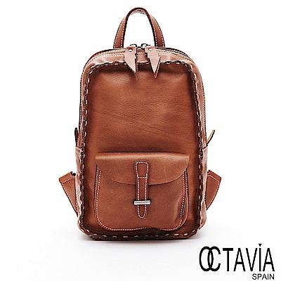 OCTAVIA8 真皮 -  印第安寶貝 全牛皮環繞縫線閃電拉頭迷你後背包 - 棕