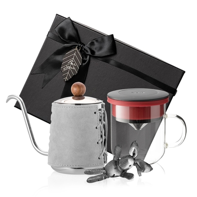 【PO:Selected】丹麥手沖咖啡禮盒組 (手沖咖啡壺-灰/咖啡玻璃杯350ml-黑紅)