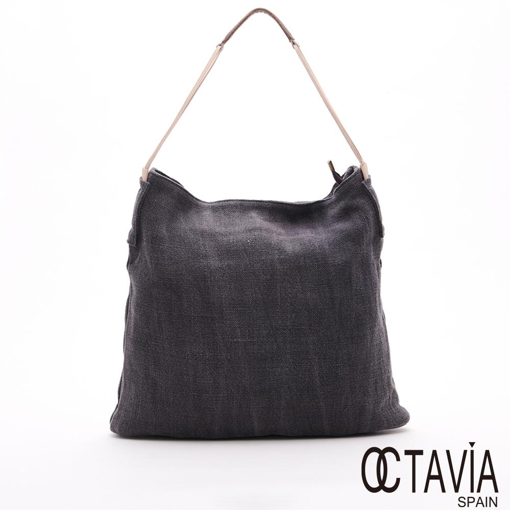 OCTAVIA 8 - 採風趣  麻布簡約大側背包 - 落雨灰