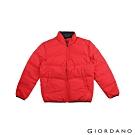 GIORDANO 男裝雙面防潑水輕羽絨外套 - 22 高貴紅x標誌黑