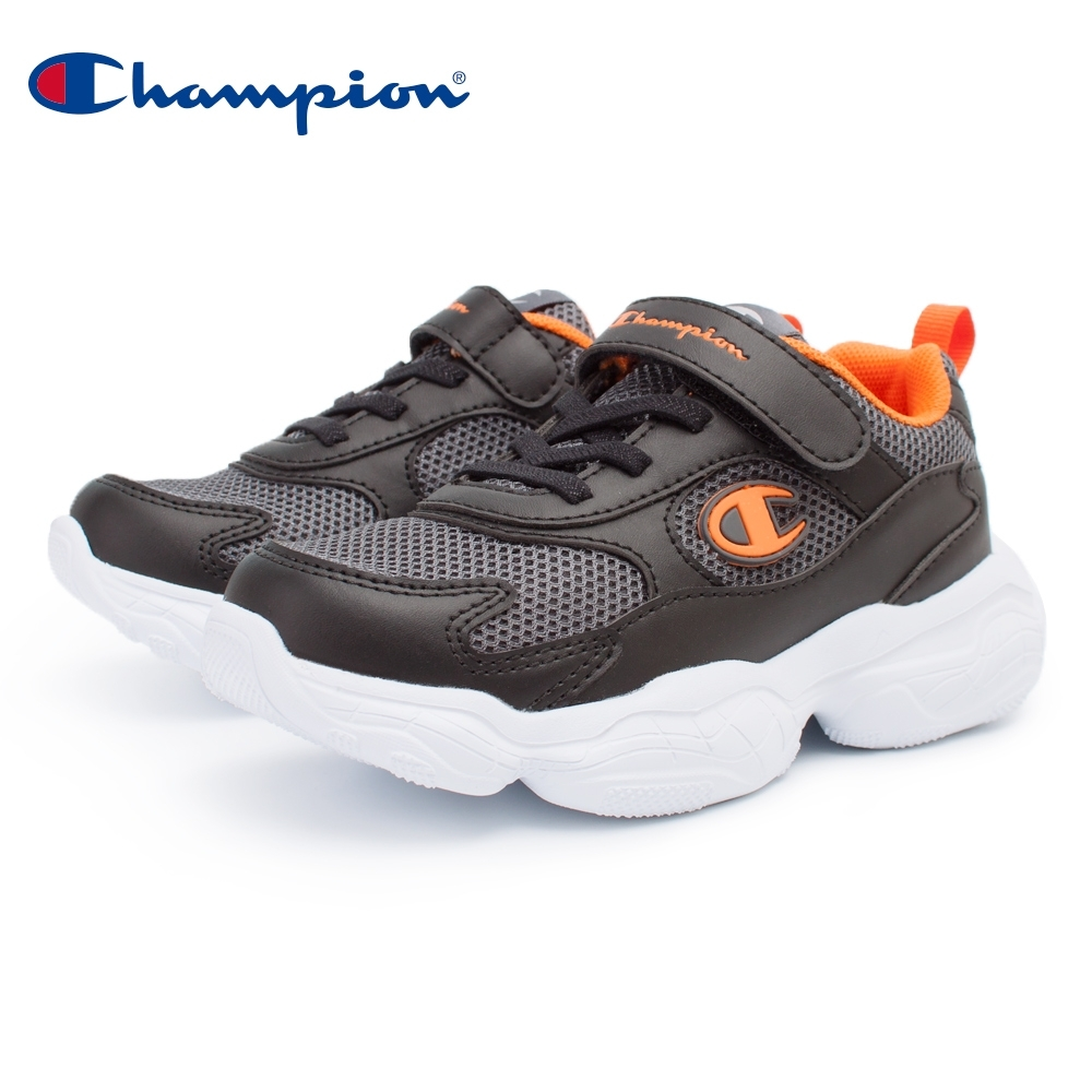 【Champion】VELCRO 運動童鞋 透氣網布 大童鞋-黑/橘(KSUS-0363-14)