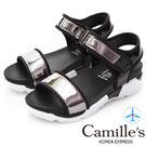 Camille's 韓國空運-一字魔鬼氈漆皮平底運動涼鞋-銀色