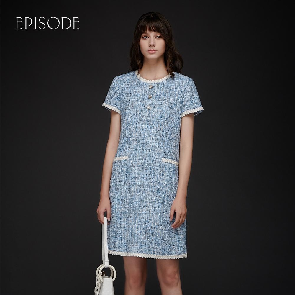 EPISODE - 藍色小香風經典毛呢圓領短袖洋裝