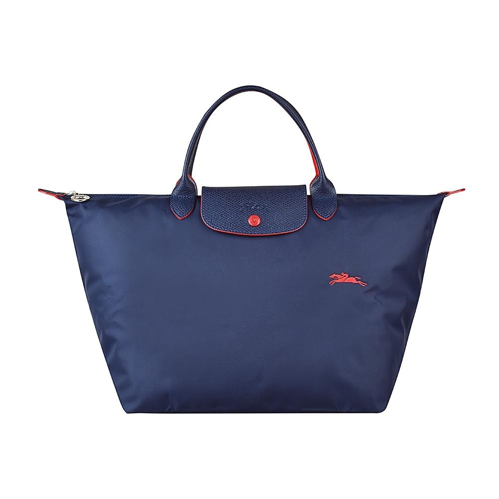 LONGCHAMP COLLECTION刺繡LOGO尼龍摺疊款短把手提包(中/深藍x紅)