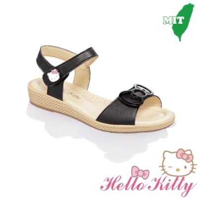 (雙11)Hello Kitty童鞋 手工超纖減壓防滑涼鞋-黑