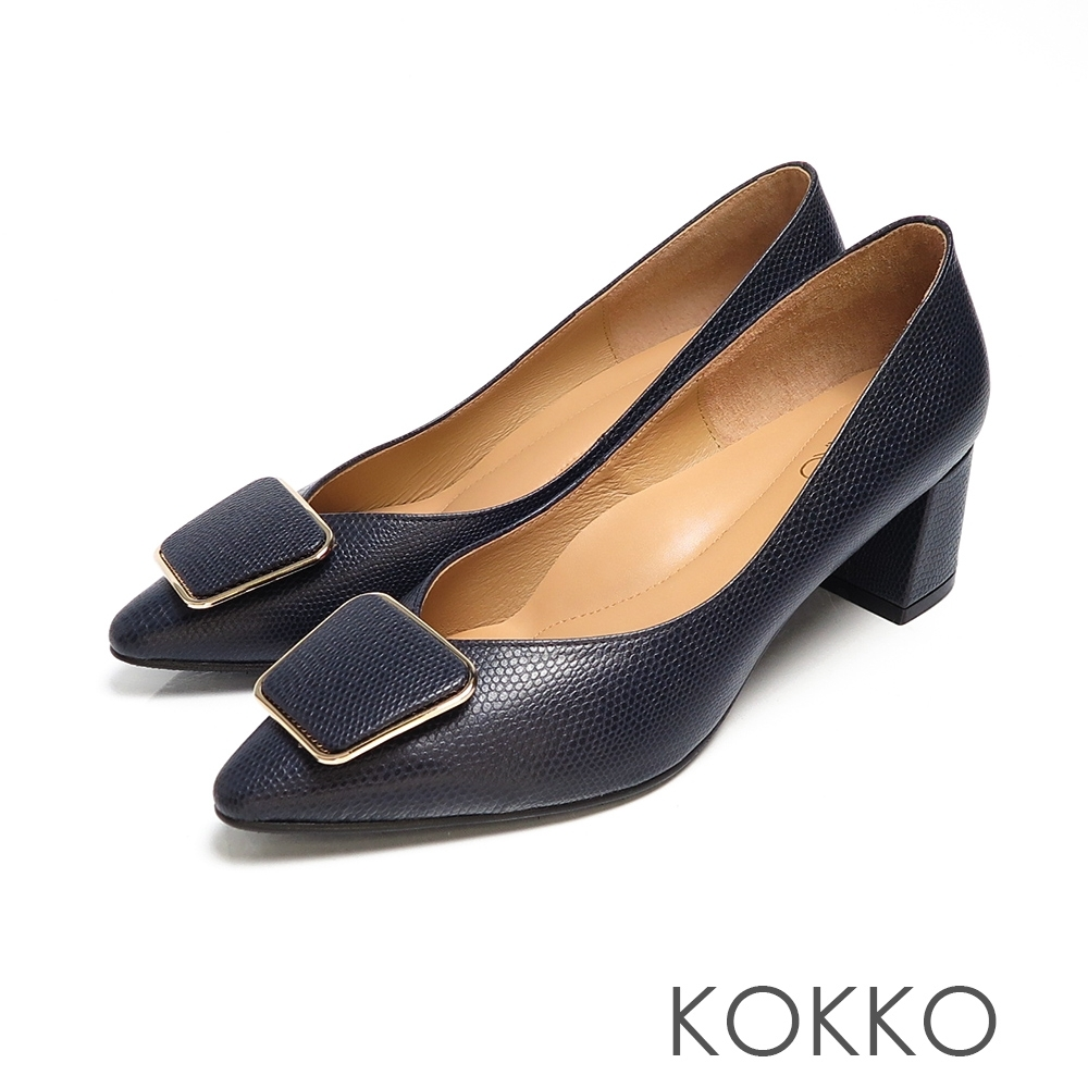 KOKKO - 赫本優雅金扣小方頭粗跟鞋-經典藍