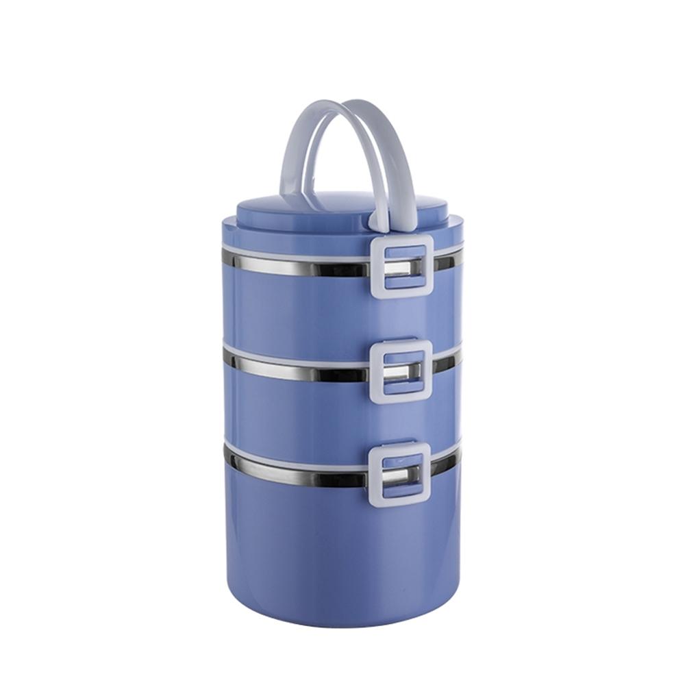 PUSH!餐具用品SUS304不鏽鋼密封不易漏三層飯盒E139(快)