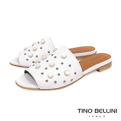 Tino Bellini 義大利進口珍珠MIX鉚釘真皮涼拖鞋 _ 白