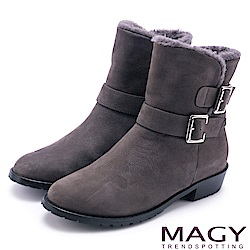 MAGY 柔軟暖呼呼 牛皮騎士皮帶釦環毛毛短靴-灰色