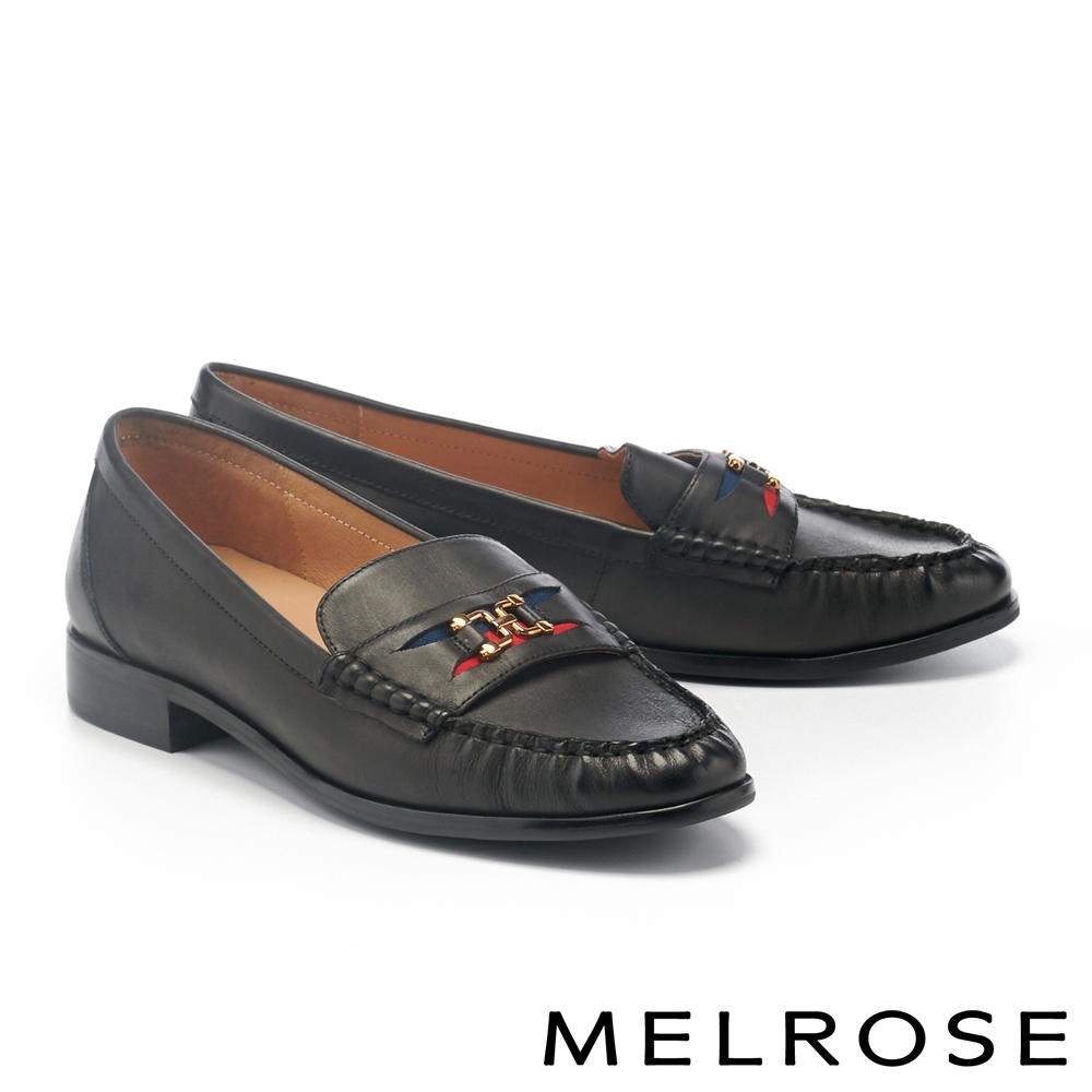 低跟鞋 MELROSE 個性雙色織帶金屬釦牛皮樂福低跟鞋-黑