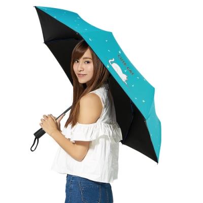 【雙龍牌】可愛貓降溫13度黑膠自動開收傘抗UV晴雨傘B6290NA2