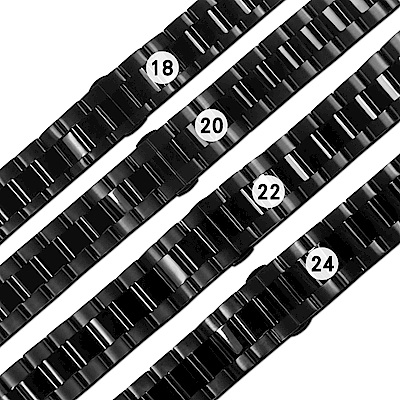 Watchband / 各品牌通用 亮面霧面 蝴蝶雙壓扣 不鏽鋼錶帶 黑色