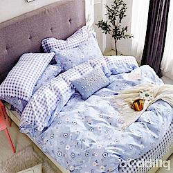 BEDDING-專櫃純棉3.5尺單人薄式床包涼被三件組-碎花拾影-藍