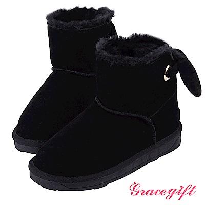 Grace gift-蝴蝶結金屬釦環雪靴 黑