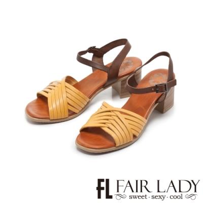 FAIR LADY PORRONET編織皮革繫帶木紋粗跟涼鞋 土黃