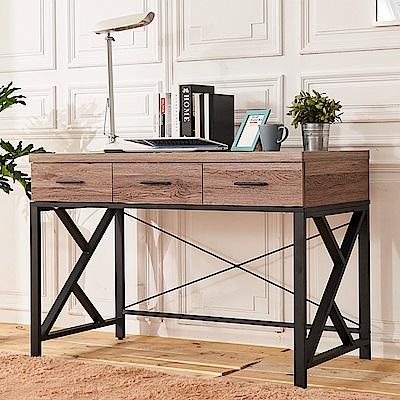 時尚屋 克里斯木心板4尺三抽書桌 寬120x深59x高82cm