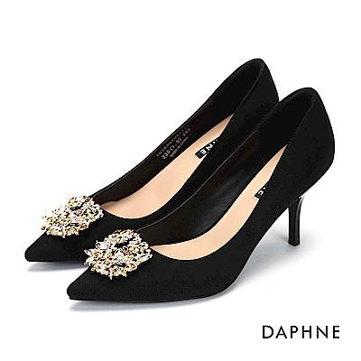 達芙妮DAPHNE 高跟鞋-水鑽花飾絨布尖頭高跟鞋-黑