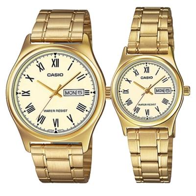 CASIO 簡約金時尚星期日期指針對錶-黃面(MTP-V006G-9B+LTP-V006G-9B)