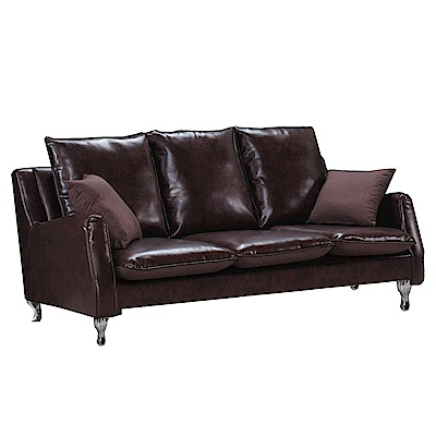 品家居 安法拉透氣皮革沙發三人座-201x80x92cm免組