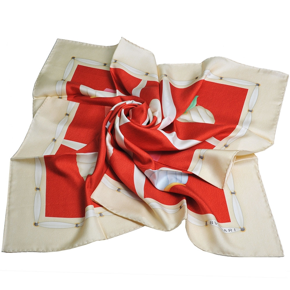 BVLGARI 義大利製品牌寶石圖騰字母LOGO100%絲質大絲巾(紅底/米黃邊)