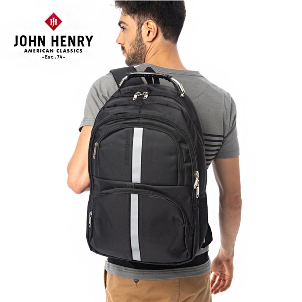 【JOHN HENRY】多層收納電腦後背包-黑
