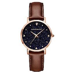 HANNAH MARTIN 璀璨星空皮帶腕錶-咖啡帶x36mm(HM-XK36-FK)